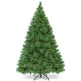 6Ft Pre-Lit PVC Artificial Carolina Pine Tree Flocked Cones Hinged w/ LED Lights in Pasadena, Texas