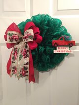 """14"""" Green Deco Mesh Christmas Wreath with Red Truck and Sign in Camp Lejeune, North Carolina"""