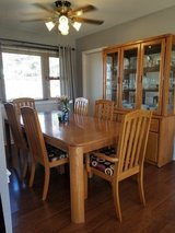 Oak dining room set, Chairs, Table and China Cabinet in Naperville, Illinois