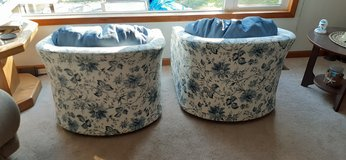 Swivel Accent Chairs in blue print in Chicago, Illinois