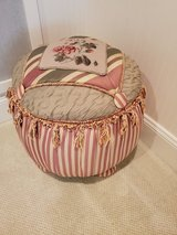 Embroidered silk Tuffet from high-end Boutique in Beaufort, South Carolina