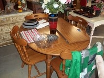 Small Maple Table with Leaf and Four Chairs Set in Fort Riley, Kansas