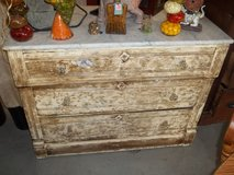 Vintage Three Drawer Dresser with Marble Top in Fort Riley, Kansas