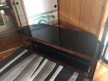 tv furniture dark wood and black glass shelves in Okinawa, Japan