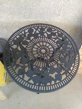 small cast aluminum table in Yucca Valley, California