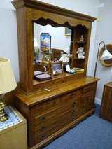 Solid Oak Dresser with Mirror Hutch in Batavia, Illinois