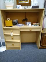 Light Toned Desk with Top Cabinet in Batavia, Illinois
