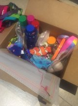 Box of Kids Toys New Silly String, Bubbles, Cards Magnetic Hangman, etc in Kingwood, Texas
