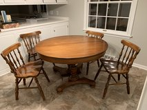 Vintage Pecan Wood Pedestal Dining Table with 3 Leaves in Naperville, Illinois