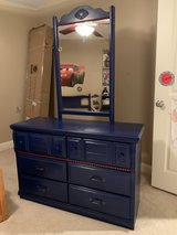 Dresser with Attached Mirror- Navy Blue with Red Accents in Plainfield, Illinois