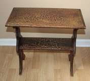 Brown Distressed Crackle Side Table Book Shelf in Sandwich, Illinois