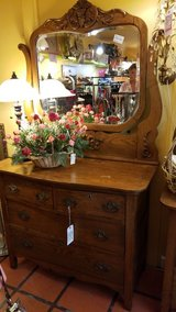 Antique Oak 4 Drawer Chest with Mirror in Camp Lejeune, North Carolina
