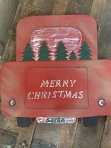 Antique Red Pickup Truck Wooden Christmas Decoration in Nellis AFB, Nevada