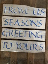 Christmas Seasons Greetings Wooden Sign in Nellis AFB, Nevada