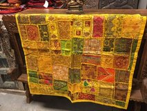 Yellow Vintage Handmade Patchwork Embroidered Tapestry Wall Decor Wall Hanging 40x40 in Birmingham, Alabama