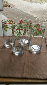 lot of four vintage Christmas glass tumblers in Byron, Georgia