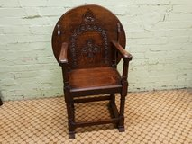 Carved Oak Monks Chair in Lakenheath, UK