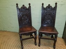 Pair of Elizabeth 1st Carved Oak Chairs in Lakenheath, UK