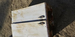 Antique white metal cupboards in Yucca Valley, California