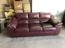 Burgundy Leather Couch in Alamogordo, New Mexico