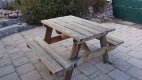Wooden Patio Bench set in 29 Palms, California