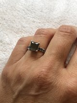 Black diamond solitaire on white gold band in Fort Campbell, Kentucky