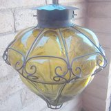 Wrought iron and glass hanging lamp from Mexico in Alamogordo, New Mexico