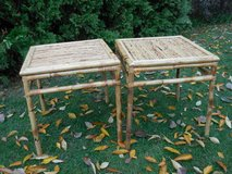 Pair bamboo rattan side tables and chairs in Westmont, Illinois