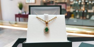14K Yellow Gold Emerald and DIamond Earring Necklace and Bracelet set in Camp Lejeune, North Carolina