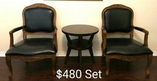 Leather Chair Pair and small table in Houston, Texas