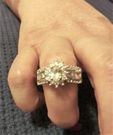 925 Silver CZ Diamond Sunburst Ring (Sz: 6) in Spring, Texas