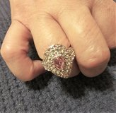 925 Silver CZ Pink Diamond Solitaire Pear Shaped Ring (Sz: 7) in Spring, Texas