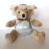 Teddy Bear Glass Fish Bowl Candy, Potpourri, Trinket Jar Red, Green & Gold in Camp Lejeune, North Carolina