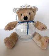 Teddy Bear Glass Fish Bowl Candy, Potpourri, Trinket Jar Blue & Ivory w/ Rosettes in Camp Lejeune, North Carolina