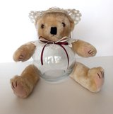 Teddy Bear Glass Fish Bowl Candy, Potpourri, Trinket Jar Wine & Ivory w/ Rosettes in Camp Lejeune, North Carolina