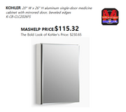 aluminum single-door medicine cabinet with mirrored door, beveled edges in Fort Riley, Kansas