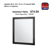 Framed Wall Mirror in Espresso in Fort Riley, Kansas