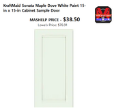 KraftMaid Sonata Maple Dove White Paint 15-in x 15-in Cabinet Sample Door in Fort Riley, Kansas