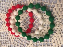 Bracelets Christmas Robberized Beads Red White Green Bangle Style in Kingwood, Texas