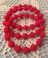 Bracelets Christmas Red Rubber Beads Bangle Style Set of 3 in Kingwood, Texas
