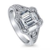 CLEARANCE ***BRAND NEW***GORGEOUS Emerald Cut CZ Art Deco Engagement Ring***SZ 7 in The Woodlands, Texas