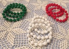 Bracelets Christmas Red White Green Rubber Beads Bangle Style Set of 9 in Houston, Texas