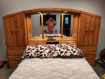 Oak Queen Bed with storage in Travis AFB, California