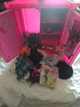 Build a bear pink dresser,wardrobe Amore with tons of clothes,, in Yorkville, Illinois