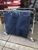 Double canvas hamper on wheels in Chicago, Illinois