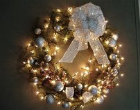 Large Wreath with Silver Ornaments and Clear Lights in Converse, Texas