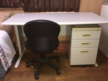 Japanese Office Desk, File Cabinet and Chair in Okinawa, Japan