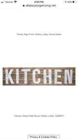 Big Wooden Kitchen Sign in Fort Campbell, Kentucky