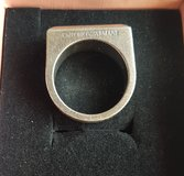 Mens solid silver Emporio Armani ring with onyx heavy 15g in Lakenheath, UK