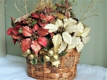 Oval Wicker Basket with Poinsettias, Ornaments and Greenery Center Piece in Converse, Texas